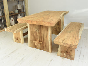 Suar live edge dining set with benches, seats 4, side view.