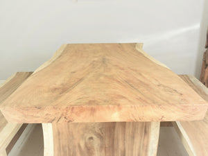 150cm Suar live edge dining table, end view