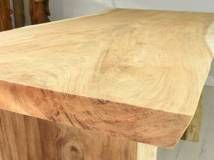 150cm Suar live edge table with pedestal style legs, close up view.