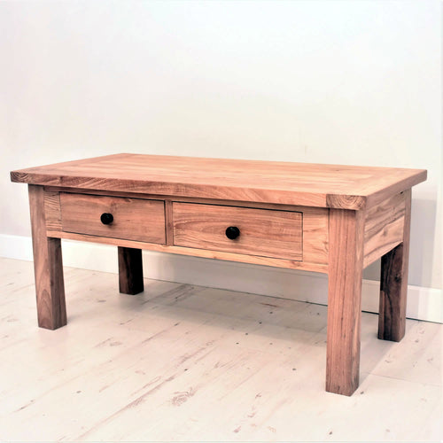 Reclaimed teak chunky coffee table with 2 drawers.