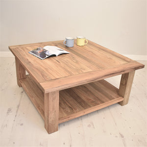 Square reclaimed teak chunky coffee table with shelf.
