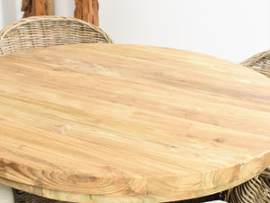 100cm Reclaimed teak round table, close view