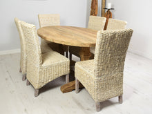 Load image into Gallery viewer, 160cm Reclaimed teak dining set with 6 whitewashed banana leaf chairs, side view.