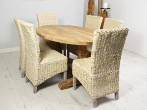 160cm Reclaimed teak dining set with 6 whitewashed banana leaf chairs, side view.