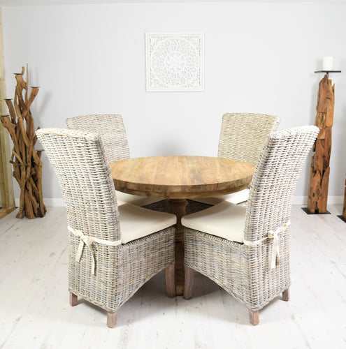 100cm Reclaimed teak round dining set with 4 whitewashed Kabu chairs.
