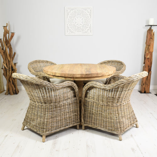 Round reclaimed teak dining set with 4 curved Kubu armchairs