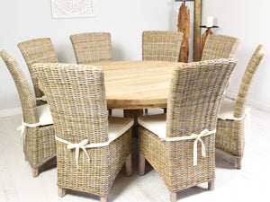 180cm Round reclaimed teak dining set with 8 natural Kabu chairs.