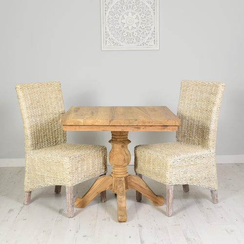 Square Reclaimed Teak Dining Set with 2 Whitewash Banana Leaf Chairs