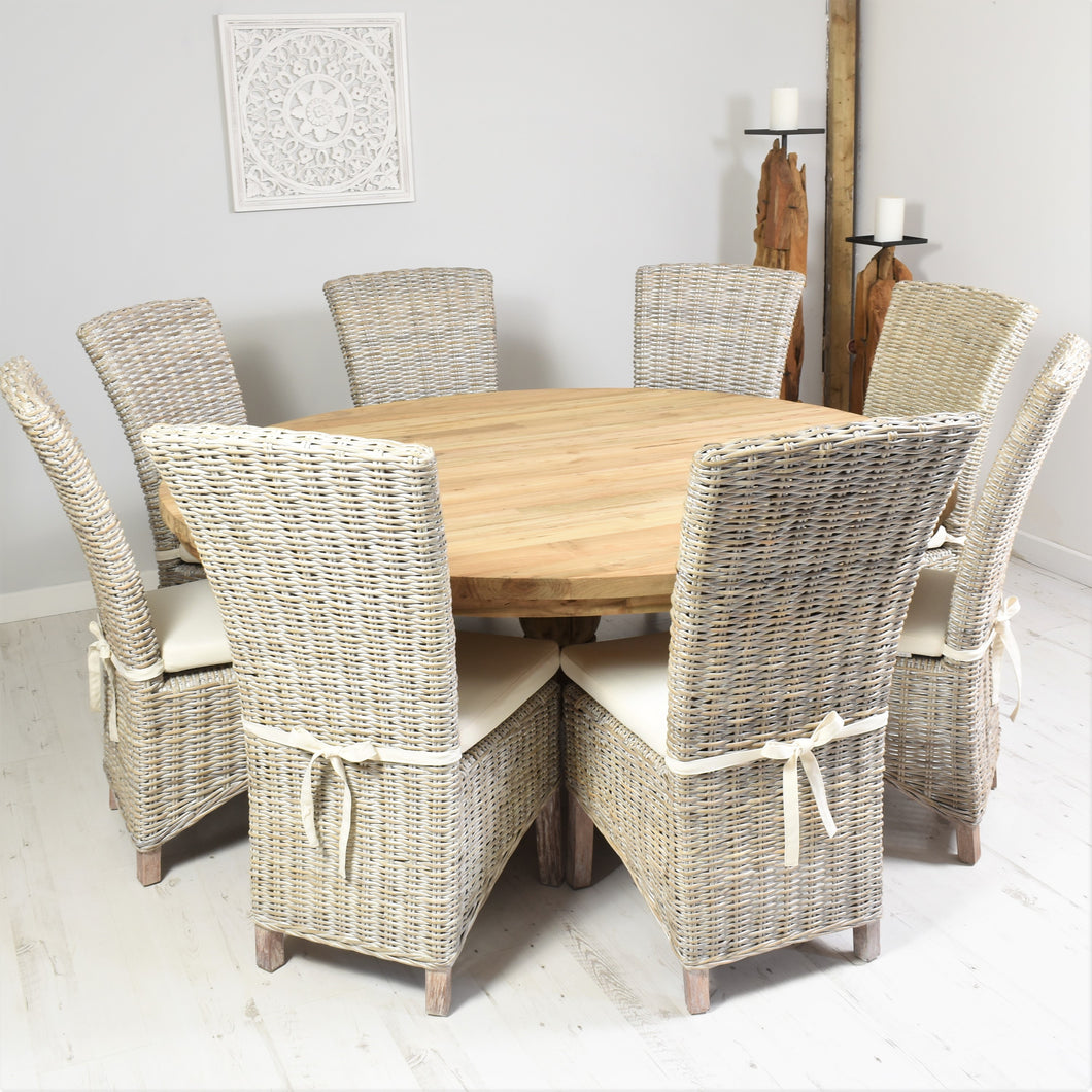 180cm Round reclaimed teak dining set with 8 whitewashed Kabu chairs .