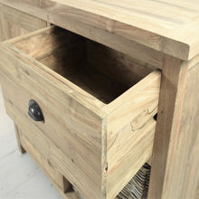 Load image into Gallery viewer, Reclaimed teak small sideboard, close view of open drawer.