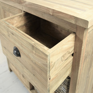 Reclaimed teak small sideboard, close view of open drawer.