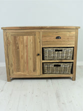 Load image into Gallery viewer, Reclaimed teak small sideboard, 1 door, 1 drawer, 2 baskets.