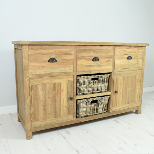 Reclaimed teak long sideboard, 3 drawers, 2 baskets, 2 doors.