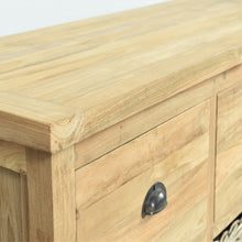 Load image into Gallery viewer, Reclaimed teak long sideboard, close view of closed drawer.