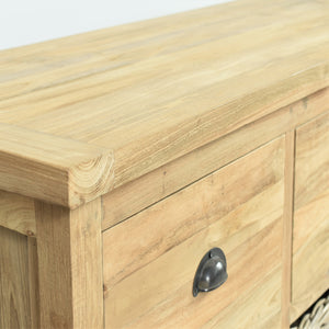 Reclaimed teak long sideboard, close view of closed drawer.