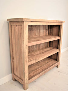 Reclaimed teak small bookcase, side view.