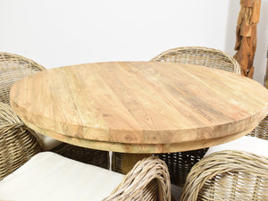 100cm Reclaimed teak round table close view.