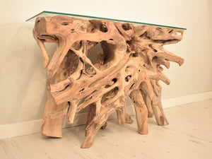 Natural teak root console table, close view of root.