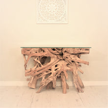 Load image into Gallery viewer, Natural teak root console table.