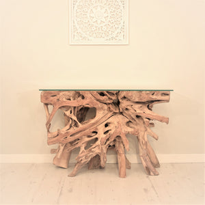 Natural teak root console table.