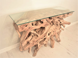 Natural teak root console table side view.