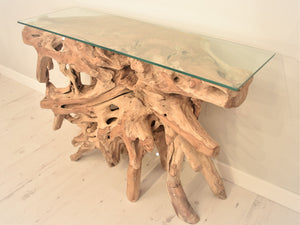 Natural teak root console, table side view.