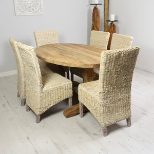 160cm Reclaimed teak oval dining set with 6 whitewashed banana leaf chairs.