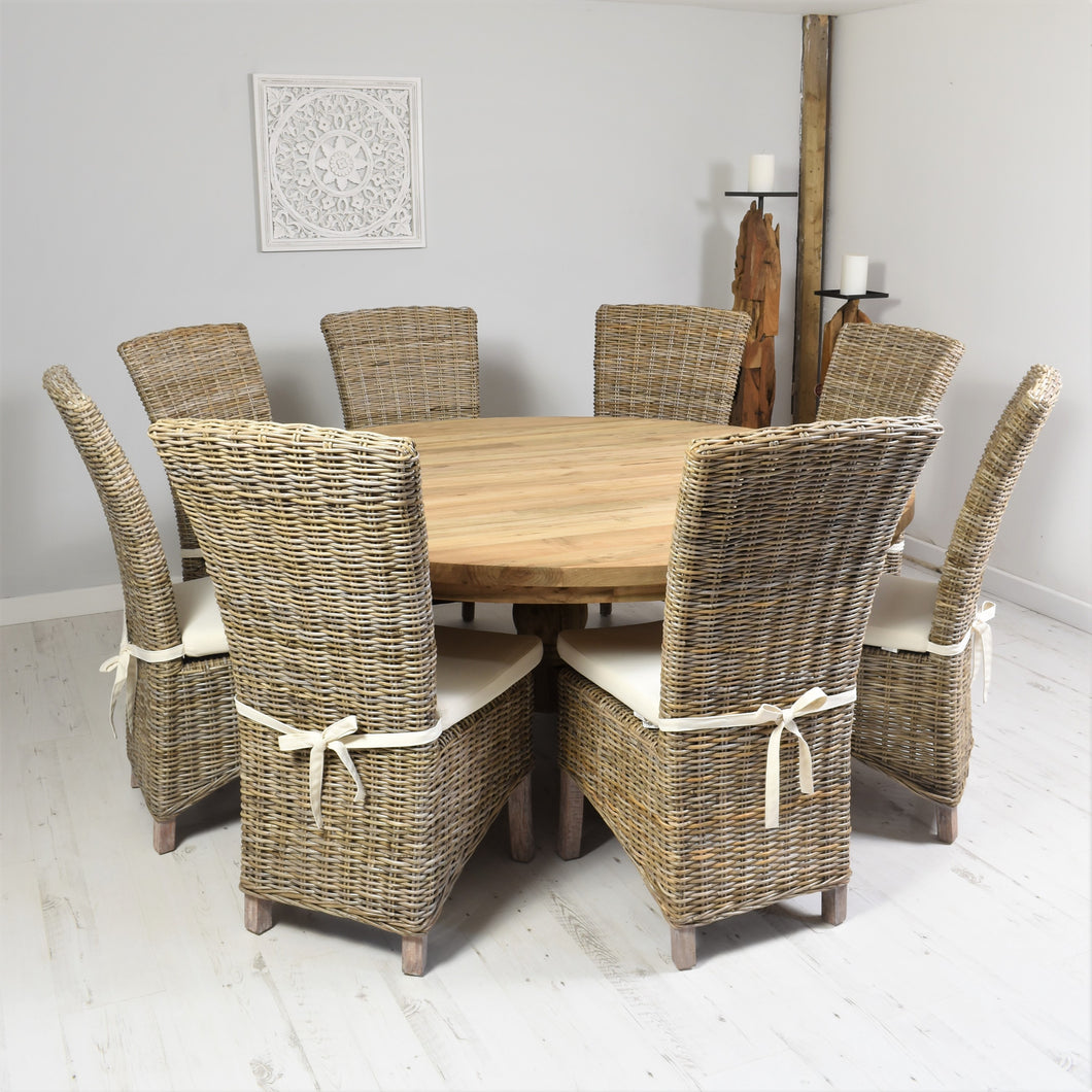 180cm Round reclaimed teak dining set with 8 natural Kabu chairs