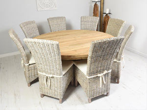 180cm Round reclaimed teak dining set with 8 whitewashed Kabu chairs.