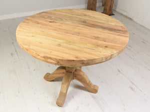 Reclaimed Teak Dining Table Round - 100cm