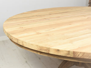 180cm Round reclaimed teak table, close up view.