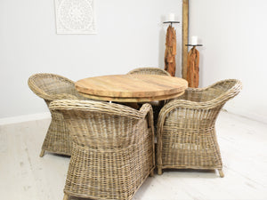 100cm Round reclaimed teak dining table and 4 curved Kabu chairs.