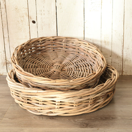 Natural Wicker Round Tray - Small
