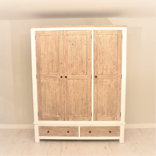 Reclaimed Pine Bude Range Triple Wardrobe with 2 Drawers