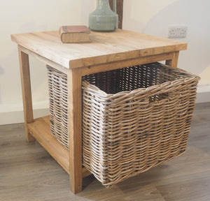 Reclaimed Wood Side Table With Wicker Drawer