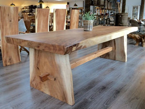 200cm Suar Live Edge Dining Set with 6 Block Dining Chairs