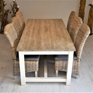 200cm Cottage Dining Set with 6 Natural Kubu Chairs