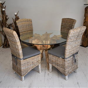Round Teak Root Dining Set with 4 Natural Kubu Chairs