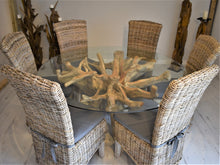 Load image into Gallery viewer, Round Teak Root Dining Set with 6 Natural Kubu Chairs