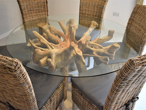 Round Teak Root Dining Set with 6 Natural Kubu Chairs