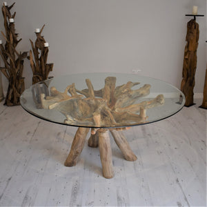 Round Teak Root Dining Set with 6 Whitewash Kubu Chairs