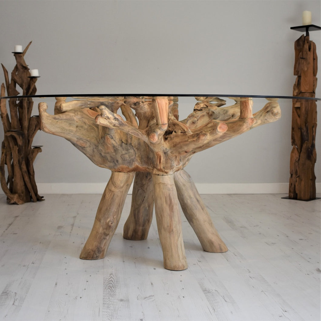 Reclaimed Teak Root Round Dining Table 150cm