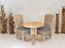 Load image into Gallery viewer, Round Reclaimed Teak Dining Set with 2 Natural Kubu Chairs