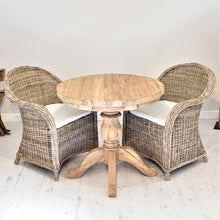Load image into Gallery viewer, Round Reclaimed Teak Dining Set with 2 Curved Kubu Armchairs