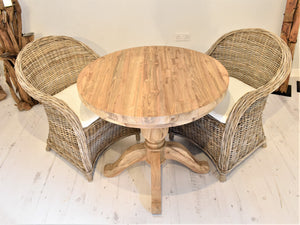 Round Reclaimed Teak Dining Set with 2 Curved Kubu Armchairs