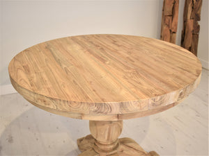 Round Reclaimed Teak Dining Set with 2 Natural Kubu Chairs