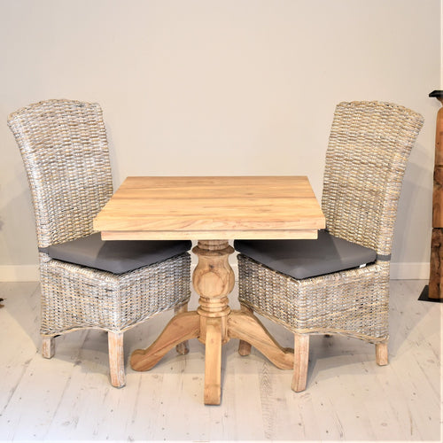 Square Reclaimed Teak Dining Set with 2 Whitewash Dining Chairs
