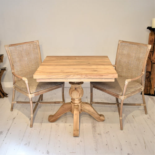 Square Reclaimed Teak Dining Set with 2 Rattan Armchairs