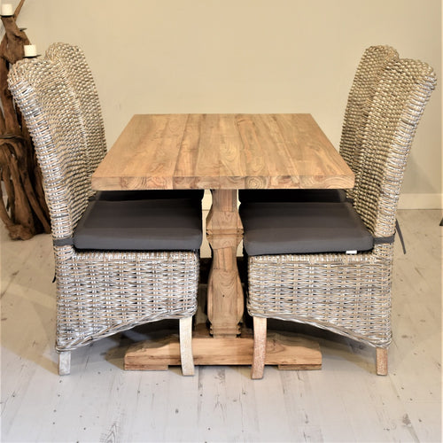Rectangular Reclaimed Teak Dining Set with 4 Whitewash Kubu Chairs