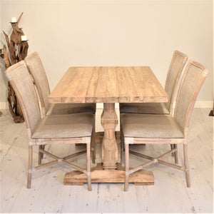 Rectangular Reclaimed Teak Dining Set with 4 Rattan Dining Chairs